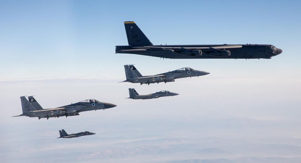 Israeli Air Force F-15 fighter Escort two American B-52 bombers through Israeli airspace on March 7, 2021