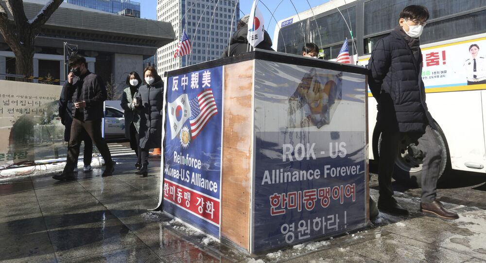 Banners to support the alliance between South Korea and the U.S. are displayed near the U.S. Embassy in Seoul, South Korea, Thursday, Feb. 4, 2021.