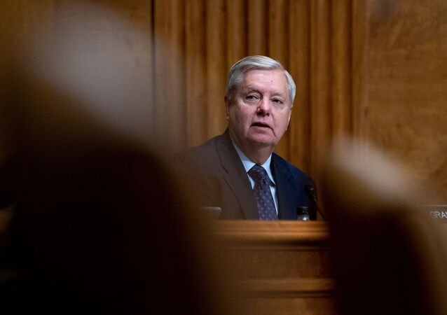 Senator Lindsey Graham (R-S.C.) speaks during a U.S. Senate Budget Committee hearing regarding wages at large corporations on Capitol Hill in Washington, 25 February 2021.