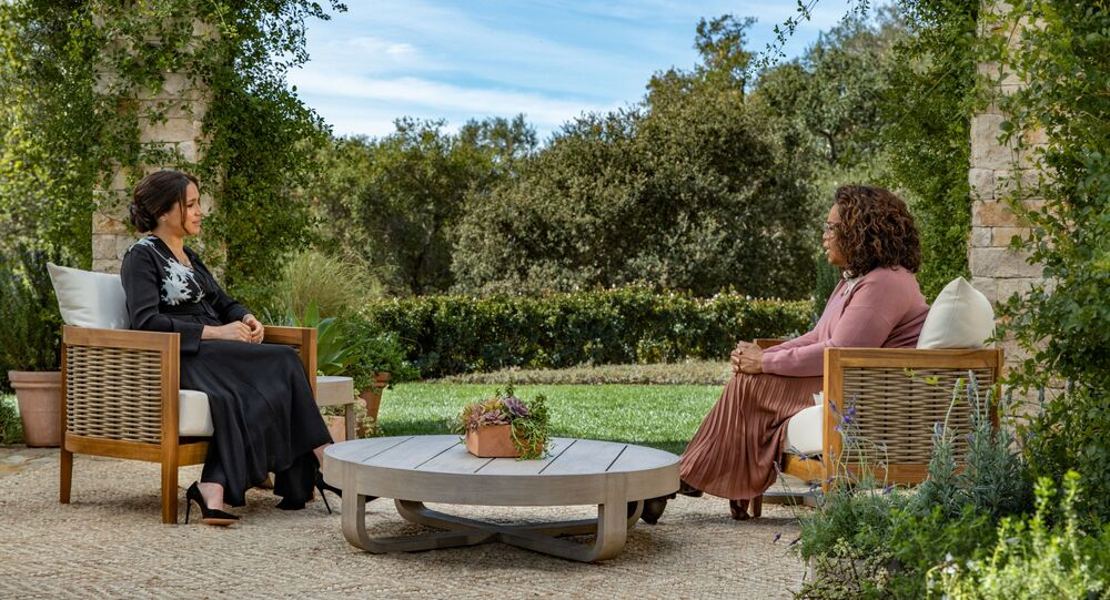 Meghan, Duchess of Sussex, gives an interview to Oprah Winfrey in this undated handout photo.