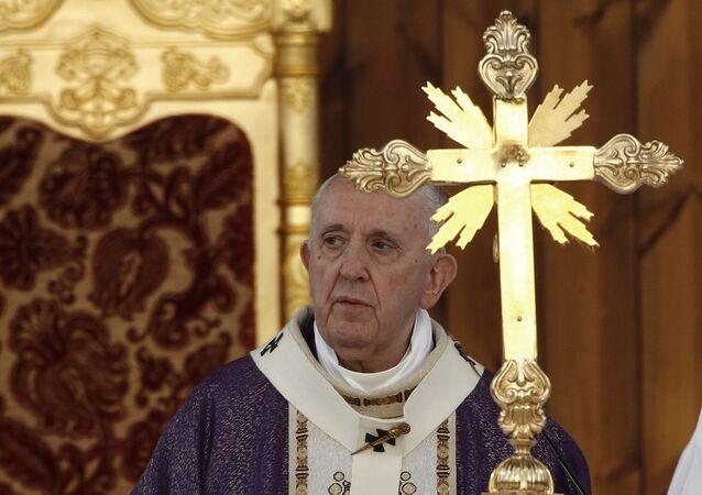 Pope Francis celebrates Mass at the Franso Hariri Stadium in Irbil, Kurdistan Region of Iraq, Sunday, March 7, 2021.