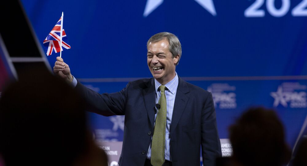 Leader of the Brexit Party and former Member of the European Parliament (MEP) Nigel Farage waves a British flag as he speaks during Conservative Political Action Conference, CPAC 2020, at the National Harbor, in Oxon Hill, Md., Friday, Feb. 28, 2020. (AP Photo/Jose Luis Magana)