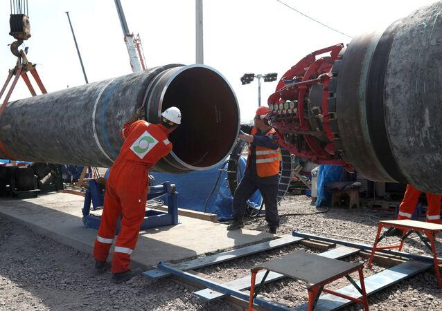 FILE PHOTO: FILE PHOTO: Workers are seen at the construction site of the Nord Stream 2 gas pipeline, near the town of Kingisepp, Leningrad region, Russia, 5 June 2019