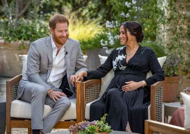 Prince Harry and Meghan, The Duke and Duchess of Sussex, give an interview to Oprah Winfrey in this undated handout photo