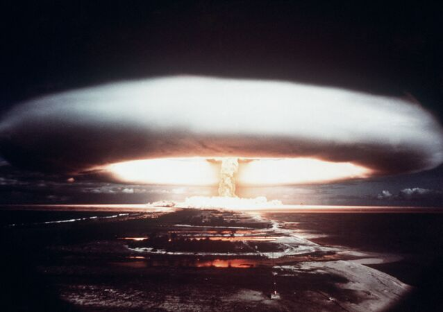 Picture taken in 1971, showing a nuclear explosion in Mururoa atoll