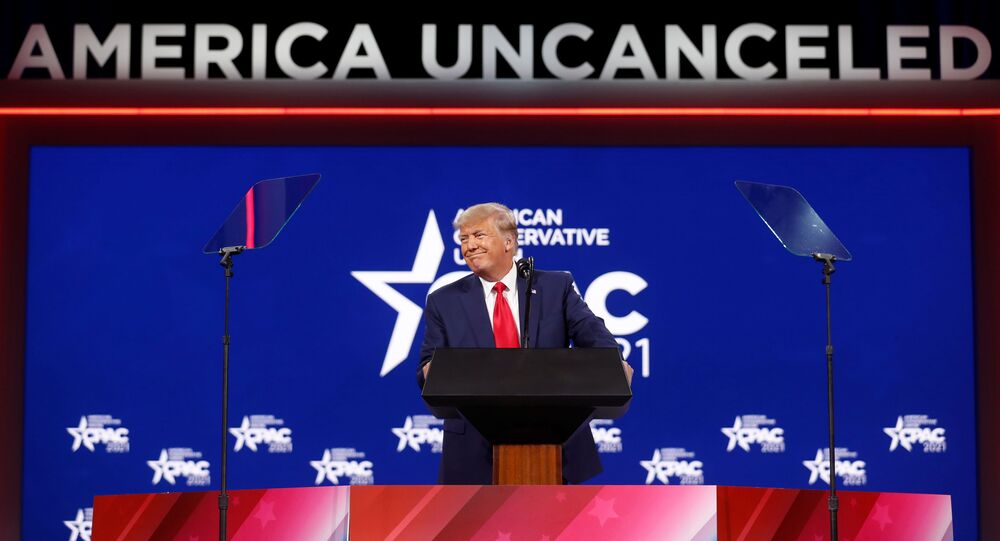 Former US President Donald Trump speaks at the Conservative Political Action Conference (CPAC) in Orlando, Florida, 28 February 2021
