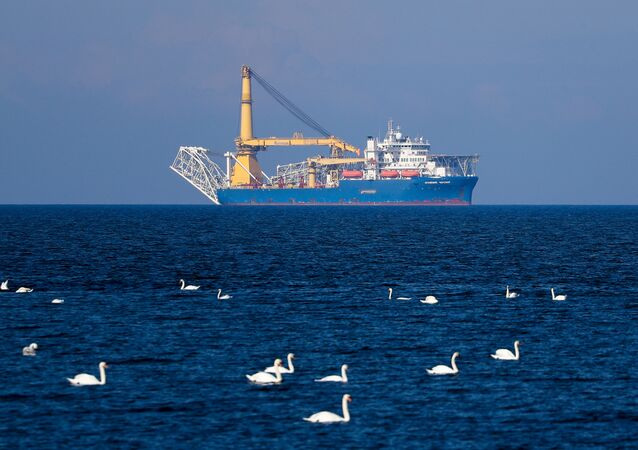 The Russian pipelaying vessel Akademik Cherskiy is pictured in the waters of Kaliningrad, Russia.