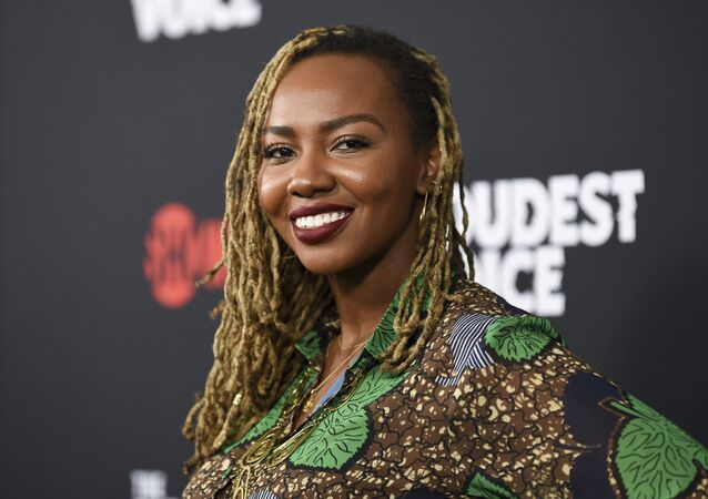 Black Lives Matter co-founder Opal Tometi attends the premiere of the ShowTime limited series The Loudest Voice at the Paris Theatre in New York.