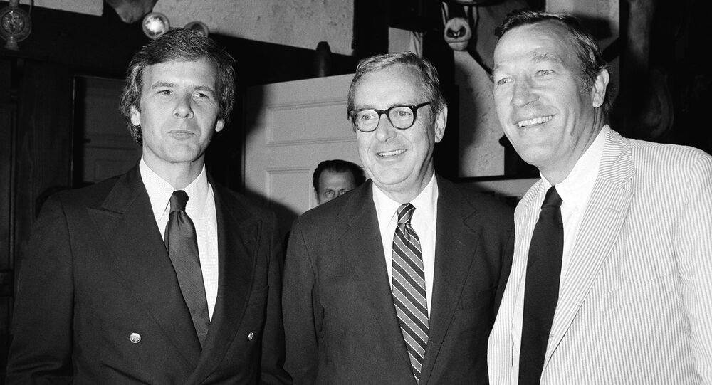 Veteran NBC news anchorman John Chancellor announced  in New York Wednesday, July 1, 1981 that he will become an elder statesman next spring to make way for a new anchor team of Tom Brokaw, left, and Roger Mudd, right, for NBC Network's Nightly News.  (AP Photo)