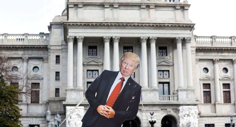 A cardboard cutout depicting U.S. President Donald Trump is seen in front of Pennsylvania State Capitol, as supporters of him are expected to protest against the election of President-elect Joe Biden, outside the Pennsylvania State Capitol in Harrisburg, Pennsylvania, U.S. January 17, 2021