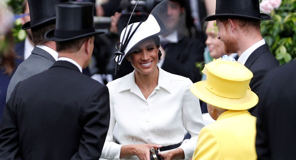 FILE PHOTO: Horse Racing - Royal Ascot - Ascot Racecourse, Ascot, Britain - June 19, 2018   Britain's Prince Harry, Meghan, the Duchess of Sussex and Britain's Queen Elizabeth arrive at Ascot racecourse