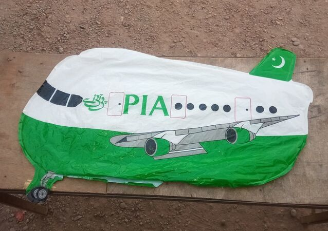 An aircraft-shaped balloon with 'PIA' written on it landed in Sotra Chak village of Hiranagar sector yesterday evening. The balloon was taken into custody by police: Jammu and Kashmir Police