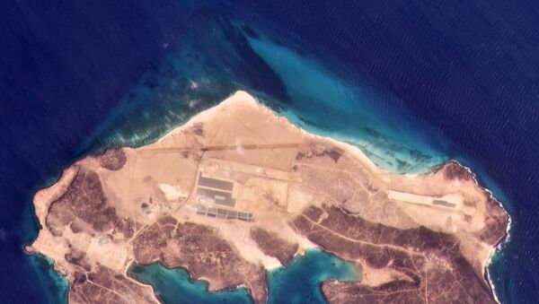 A satellite photo of Yemen's Perim Island on 9 March 2021, showing new construction on a smaller airstrip to the northwest of the older project - Sputnik International