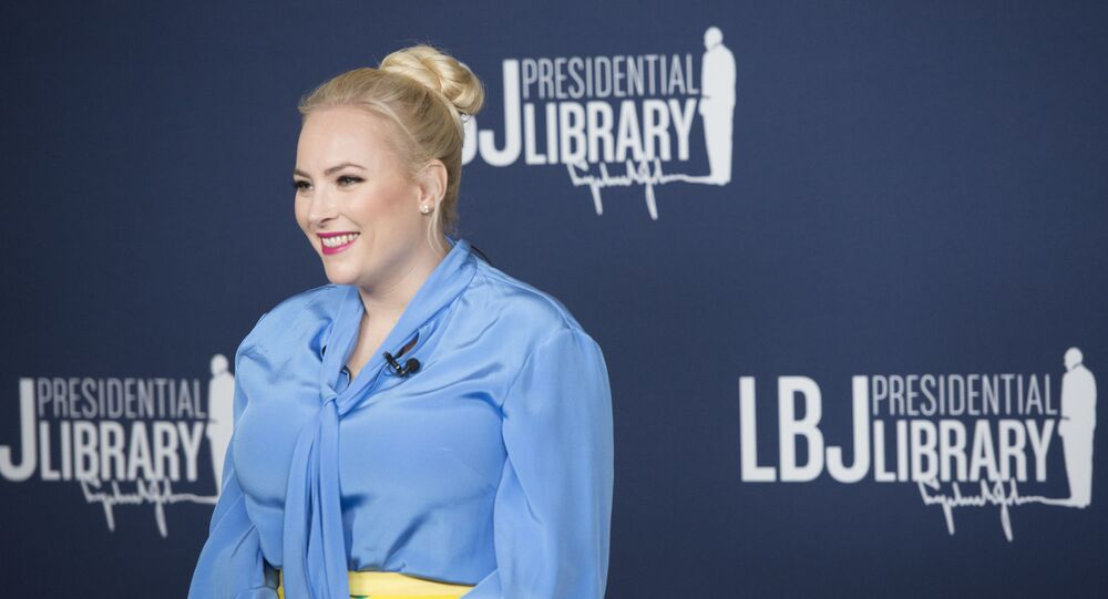 Meghan McCain answers questions for Austin media before the event.