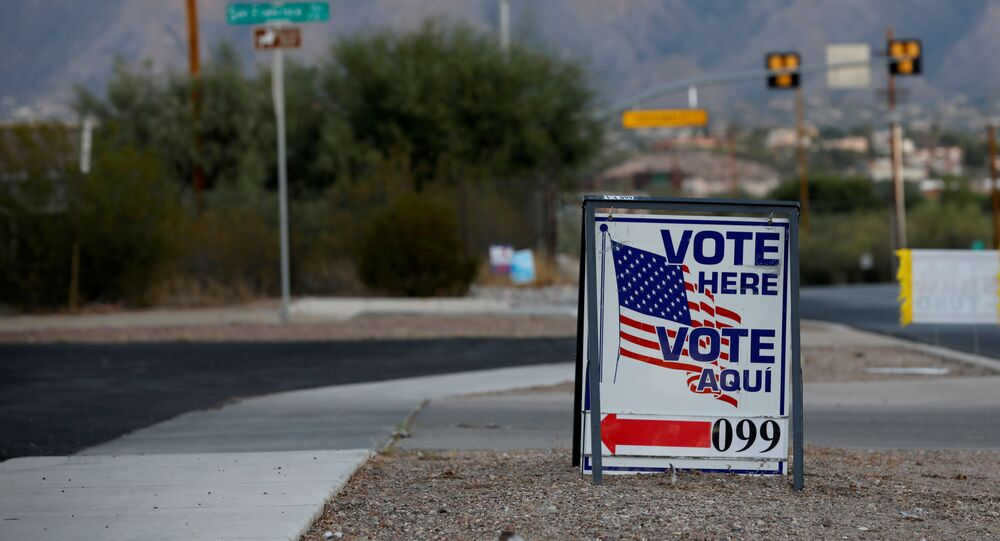 Sign directs voters to a polling station on Election Day in Tucson, Arizona, U.S. November 3, 2020