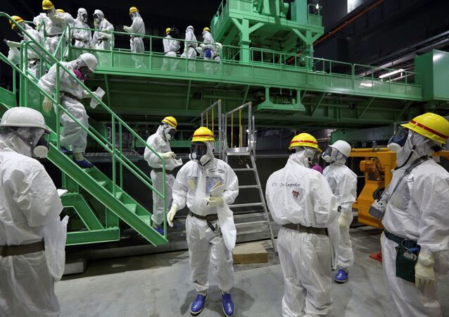 FILE PHOTO: Members of the media and Tokyo Electric Power Co. (TEPCO) employees wearing protective suits and masks walk down the steps of a fuel-handling machine at the spent fuel pool inside the No.4 reactor building at the tsunami-crippled TEPCO's Fukushima Daiichi nuclear power plant in Fukushima prefecture November 7, 2013.
