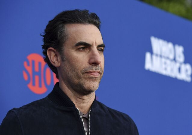 Sacha Baron Cohen, star of the Showtime series Who Is America?, poses before an Emmy For Your Consideration event for the show at Paramount Studios, Wednesday, 15 May 2019, in Los Angeles