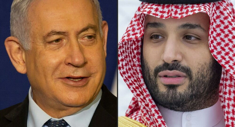 (COMBO) This combination of pictures shows (L to R) Israeli Prime Minister Benjamin Netanyahu giving a statement in Jerusalem on 19 November 2020, and Saudi Crown Prince Mohammed bin Salman addressing the G20 summit in Riyadh on 22 November 2020