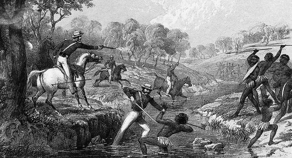 'Mounted Police and Blacks' depicts the massacre of Aboriginal people at Waterloo Creek by British troops. Tinted lithograph Held at Australian War Memorial