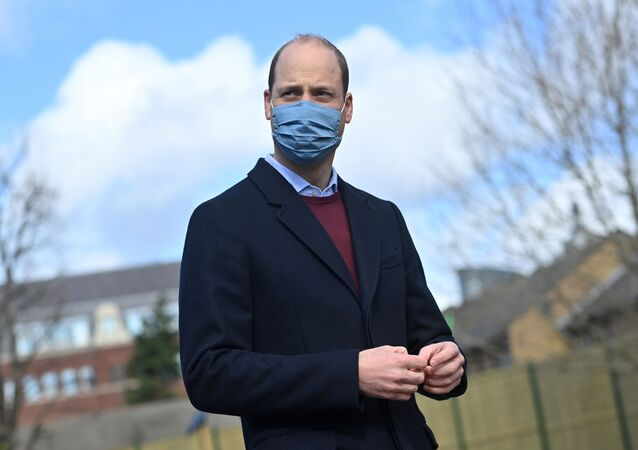 Britain's Prince William reacts to a question from the media as he leaves from a visit to the School 21 following its re-opening after the easing of coronavirus disease (COVID-19) lockdown restrictions in east London, Britain March 11, 2021