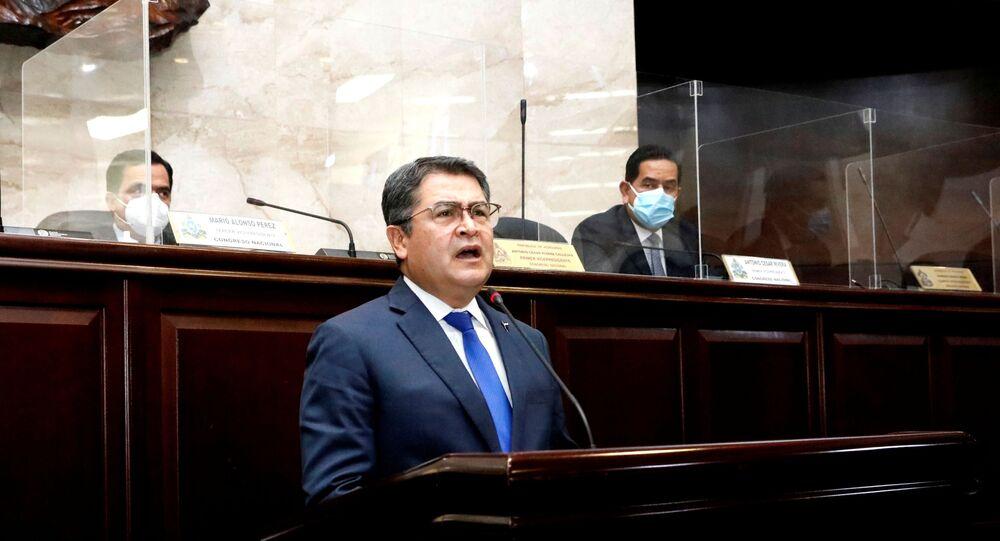 Honduras' President Juan Orlando Hernandez addresses the Congress to inform about security and organized crime, in Tegucigalpa, Honduras February 24, 2021