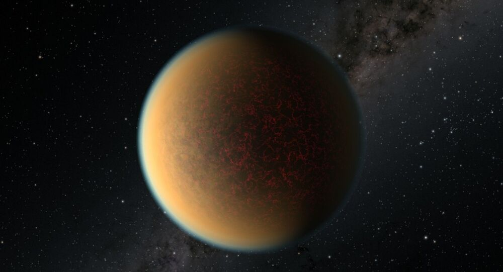 This is an artist's impression of the Earth-sized, rocky exoplanet GJ 1132 b, located 41 light-years away around a red dwarf star. Scientists using NASA's Hubble Space Telescope have found evidence this planet may have lost its original atmosphere but gained a second one that contains a toxic mix of hydrogen, methane and hydrogen cyanide.