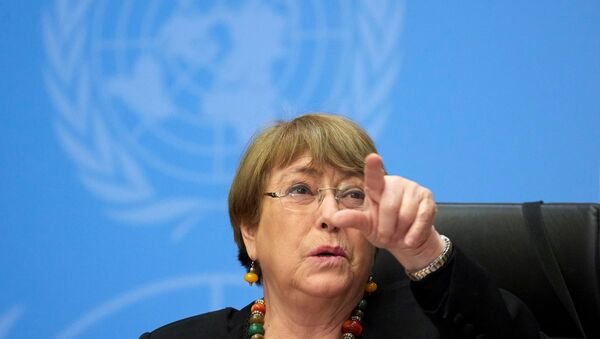FILE PHOTO: UN High Commissioner for Human Rights Michelle Bachelet gestures during a news conference at the European headquarters of the United Nations in Geneva, Switzerland, 9 December 2020. - Sputnik International