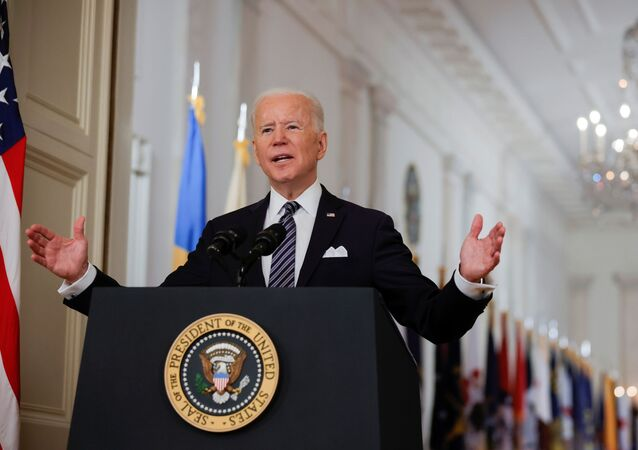 U.S. President Joe Biden delivers his first prime time address as president, marking the one-year anniversary of widespread shutdowns to combat the coronavirus disease (COVID-19) pandemic, and speak about the impact of the pandemic during an address from the East Room of the White House in Washington, U.S., March 11, 2021