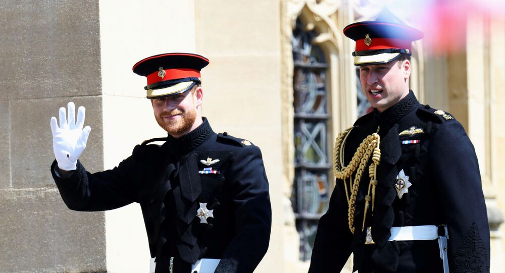 Prince Harry arrives at his wedding to Ms. Meghan Markle with Prince William, Duke of Cambridge at St George's Chapel, Windsor Castle on May 19, 2018 in Windsor, England
