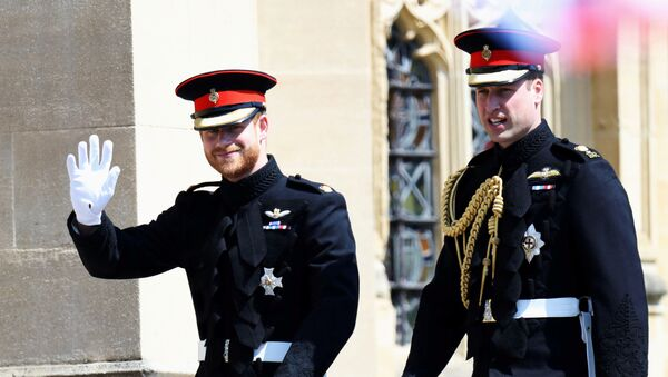 Prince Harry arrives at his wedding to Ms. Meghan Markle with Prince William, Duke of Cambridge at St George's Chapel, Windsor Castle on May 19, 2018 in Windsor, England - Sputnik International