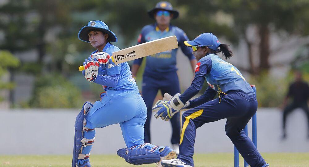 India's Mithali Raj plays a shot during the first Twenty20 women's cricket match against Sri Lanka in Katunayake, Sri Lanka, Wednesday, Sept. 19, 2018