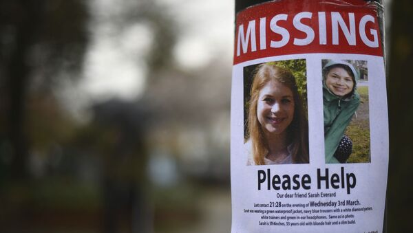 A missing sign outside Poynders Court on the A205 in Clapham, London Wednesday March 10, 2021 during the continuing search for Sarah Everard who has been missing for a week - Sputnik International