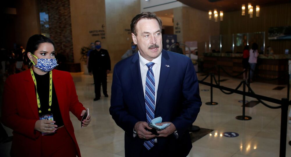MyPillow Chief Executive Officer Mike Lindell walks through the Hyatt Regency lobby to attend the Conservative Political Action Conference (CPAC) in Orlando, Florida, U.S. February 28, 2021