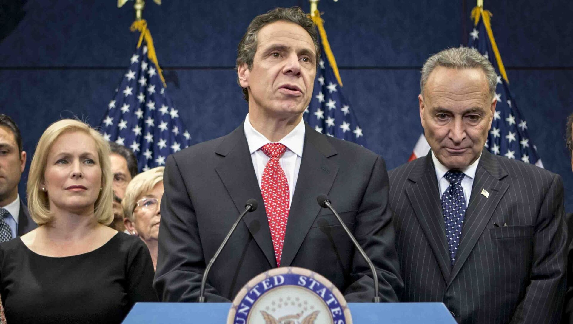 n this Dec. 3, 2012, file photo, New York Gov. Andrew Cuomo is joined by the New York Congressional delegation including, Sen. Kirsten Gillibrand, left, and Sen. Charles Schumer, right, for a news conference at the Capitol in Washington. Schumer and Gillibrand on Friday, March 12, 2021, are calling on Cuomo to resign, adding the most powerful Democratic voices yet to calls for the governor to leave office in the wake of allegations of sexual harassment and groping.  - Sputnik International, 1920, 04.08.2021