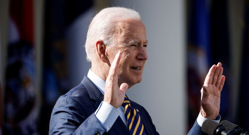 U.S. President Joe Biden speaks about the $1.9 trillion American Rescue Plan Act  during an event to celebrate the legislation in the Rose Garden at the White House in Washington, U.S., March 12, 2021