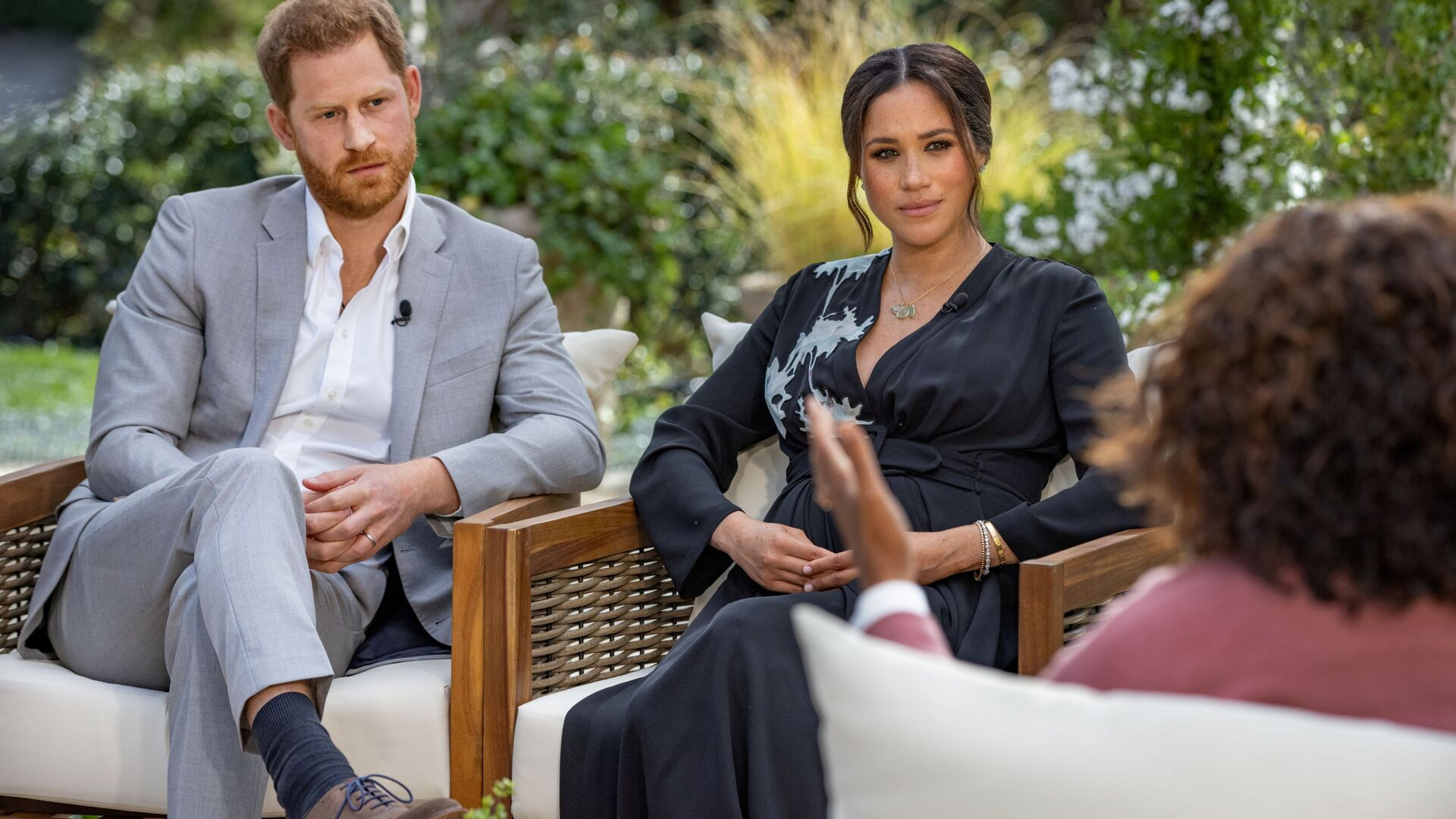 Britain's Prince Harry and Meghan, Duchess of Sussex, are interviewed by Oprah Winfrey in this undated handout photo - Sputnik International, 1920, 10.09.2021