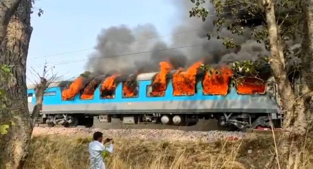 A train car caught on fire in India