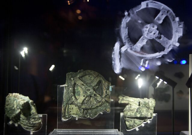 Fragments of the 2,100-year-old Antikythera Mechanism, believed to be the earliest surviving mechanical computing device, is displayed at the National Archaeological Museum, in Athens, Thursday, June 9 , 2016.