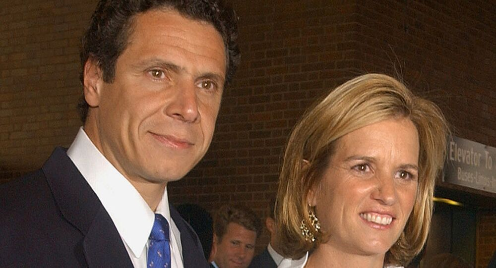 In this June 30, 2003 file photo, Carrie Kennedy-Cuomo and her husband, Andrew Cuomo are photographed together in New York. Police say that Kennedy, the former wife of New York Governor Andrew Cuomo, has been arrested on Friday, July 13, 2012, for driving while impaired by drugs after colliding with a tractor-trailer in North Castle, N.Y.