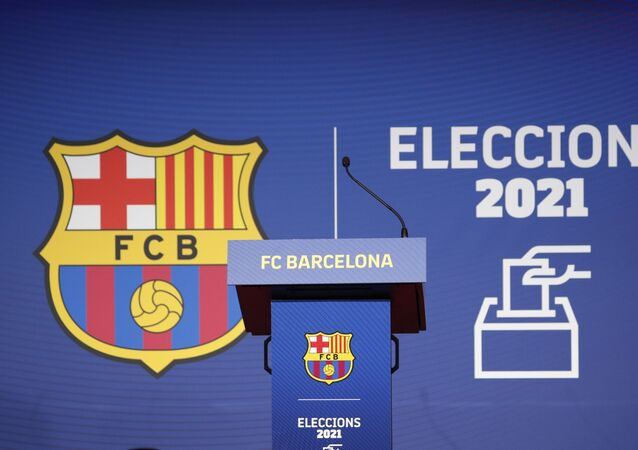 Soccer Football - FC Barcelona elect a new club President - Camp Nou, Barcelona, Spain - March 7, 2021 General view of the lectern during the election