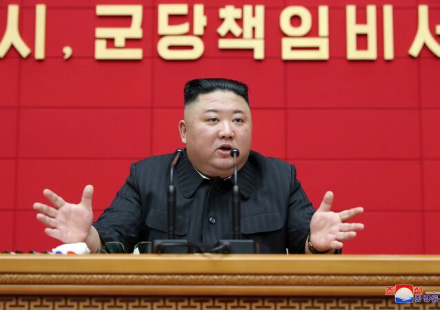 North Korea's leader Kim Jong Un speaks during the first short course for chief secretaries of the city and county party committees in Pyongyang, North Korea, in this undated photo released on March 5, 2021 by North Korea's Korean Central News Agency (KCNA).