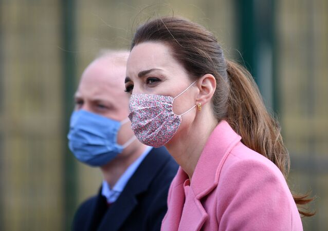 Britain's Prince William and Catherine, Duchess of Cambridge attend a discussion with teachers and mental health professionals  during a visit to School 21 following its re-opening after the easing of coronavirus disease (COVID-19) lockdown restrictions in east London, Britain March 11, 2021