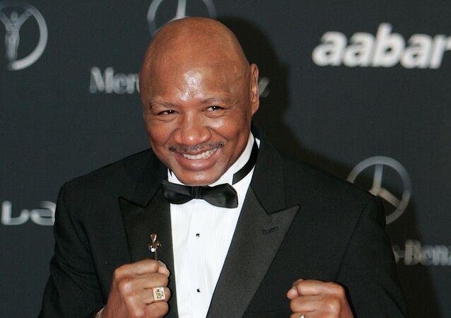 American boxer Marvin Hagler arrives for the Laureus Awards in Abu Dhabi, United Arab Emirates Monday Feb.7, 2011.