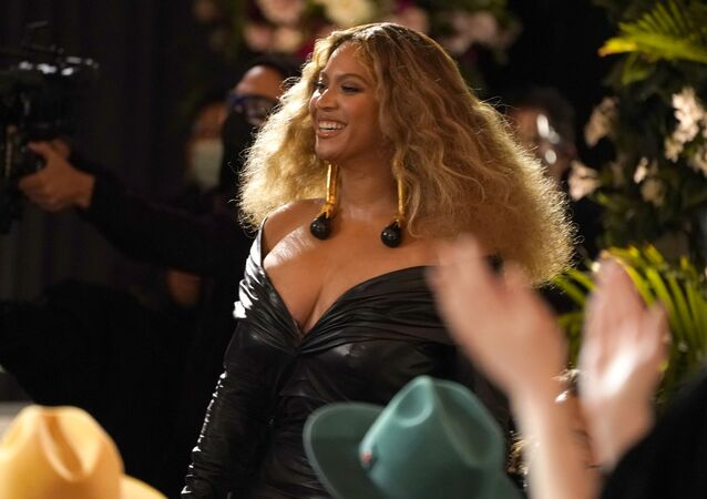 Beyonce appears in the audience before accepting the award for best rap song for Savage at the 63rd annual Grammy Awards at the Los Angeles Convention Center on Sunday, March 14, 2021