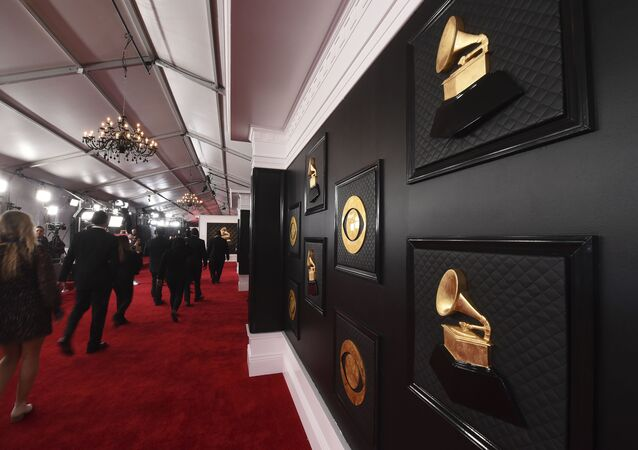 FILE - A view of the red carpet appears prior to the start of the 62nd annual Grammy Awards on Jan. 26, 2020