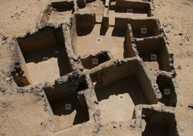 A handout picture released by the Egyptian Ministry of Tourism and Antiquities on March 13, 2021 shows a view of rock inscriptions from the Bible in ancient Greek dating back to the 5th century AD, discovered in the Tal Ganoub Qasr Al-Ajouz site in the Western Desert Bahariya Oasis