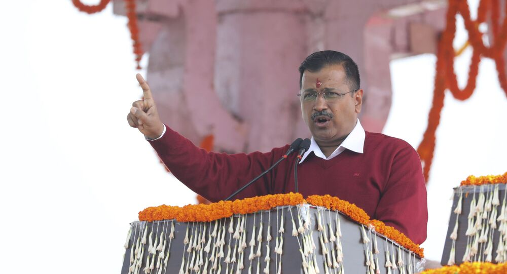 Arvind Kejriwal, leader of Aam Aadmi Party, or the Common Man's Party, addresses the crowd after taking his oath as chief minister of Delhi for the third time, in New Delhi, India, on Sunday 16 February 2020.