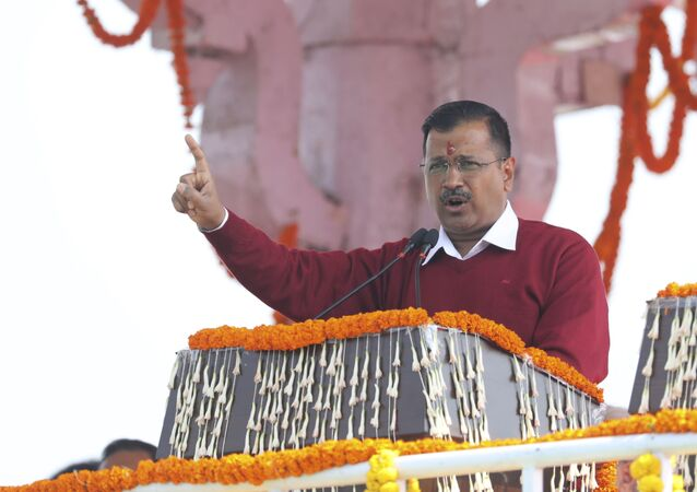Aam Aadmi Party, or Common Man's Party, leader Arvind Kejriwal addresses the crowd after taking oath as Chief Minister of Delhi for the third time, in New Delhi, India, Sunday, Feb. 16, 2020