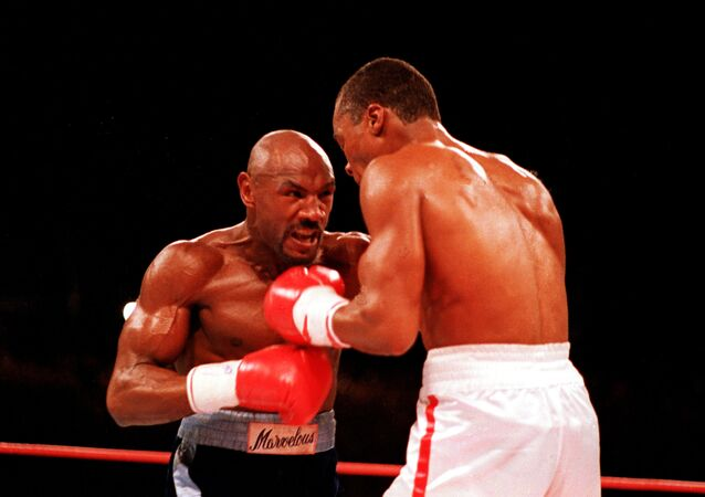 Marvelous Marvin Hagler fighting Sugar Ray Leonard at Caesars Palace in Las Vegas in 1987
