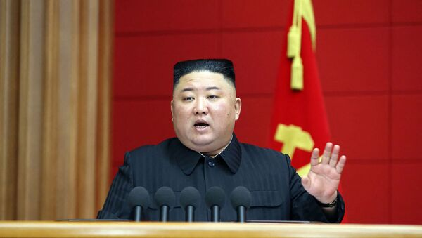 This picture taken on March 6, 2021 and released from North Korea's official Korean Central News Agency (KCNA) on March 7, 2021 shows North Korean leader Kim Jong Un speaking during the First Short Course for Chief Secretaries of City and County Party Committees in Pyongyang. - Sputnik International